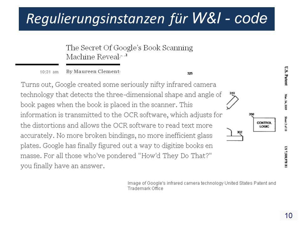 10 Regulierungsinstanzen für W&I - code