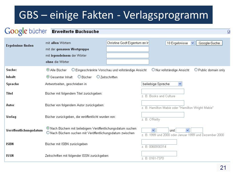 21 GBS – einige Fakten - Verlagsprogramm