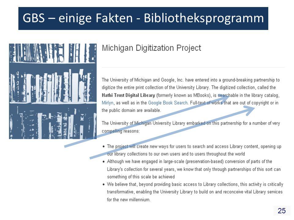 25 GBS – einige Fakten - Bibliotheksprogramm