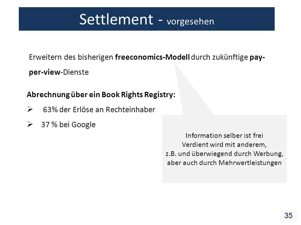 35 Erweitern des bisherigen freeconomics-Modell durch zukünftige pay- per-view-Dienste Abrechnung über ein Book Rights Registry: 63% der Erlöse an Rec