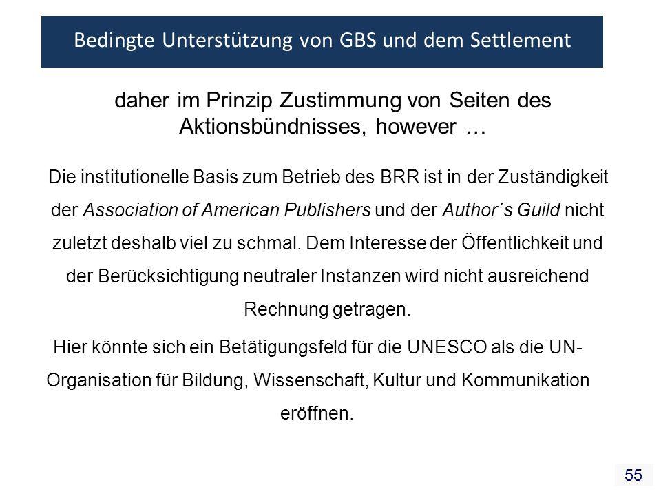 55 daher im Prinzip Zustimmung von Seiten des Aktionsbündnisses, however … Die institutionelle Basis zum Betrieb des BRR ist in der Zuständigkeit der