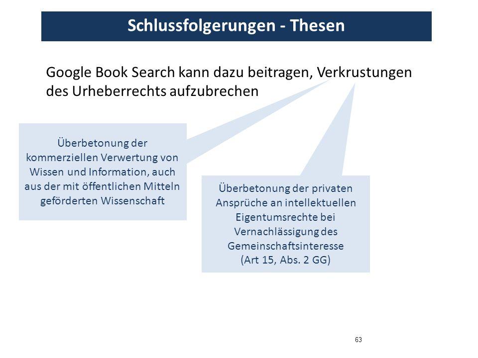 63 Schlussfolgerungen - Thesen Google Book Search kann dazu beitragen, Verkrustungen des Urheberrechts aufzubrechen Überbetonung der kommerziellen Ver