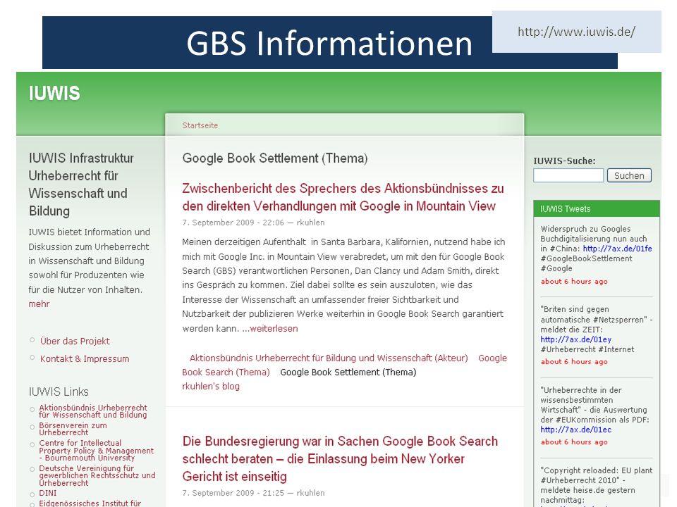 70 GBS Informationen http://www.iuwis.de/