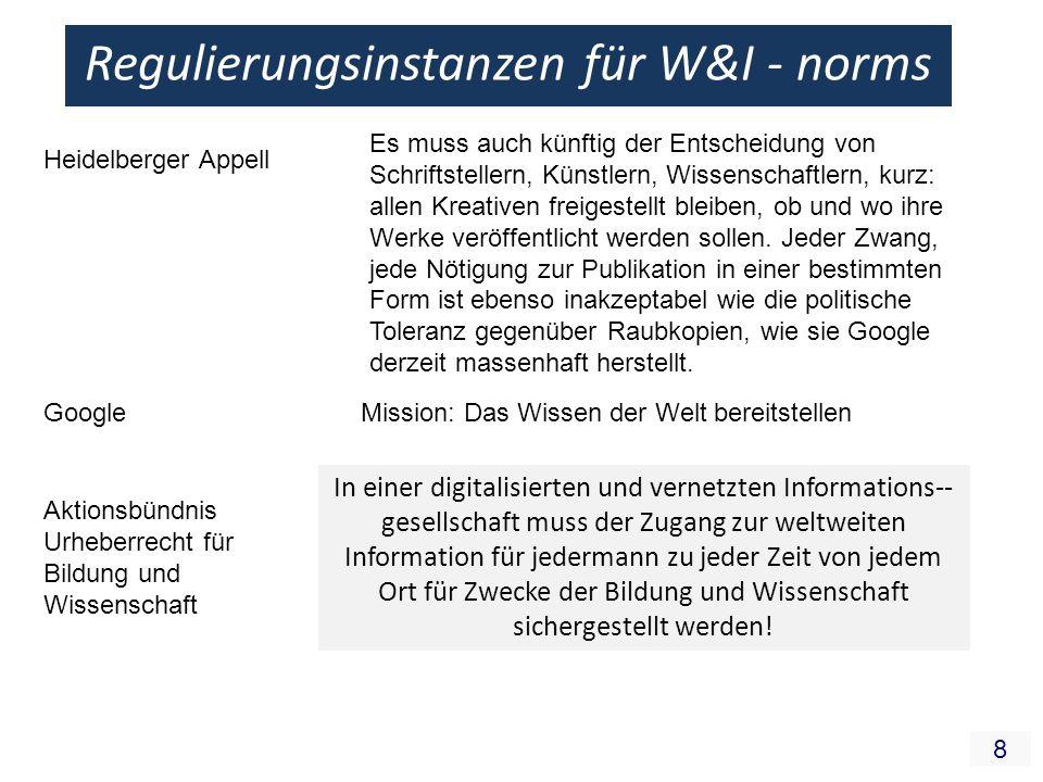 8 Regulierungsinstanzen für W&I - norms Heidelberger Appell Es muss auch künftig der Entscheidung von Schriftstellern, Künstlern, Wissenschaftlern, ku