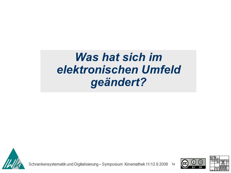 Schrankensystematik und Digitalisierung – Symposium Kinemathek 11/12.9.2008 14 Was hat sich im elektronischen Umfeld geändert?