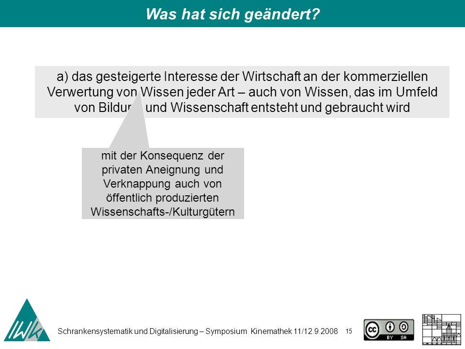 Schrankensystematik und Digitalisierung – Symposium Kinemathek 11/12.9.2008 15 Was hat sich geändert.