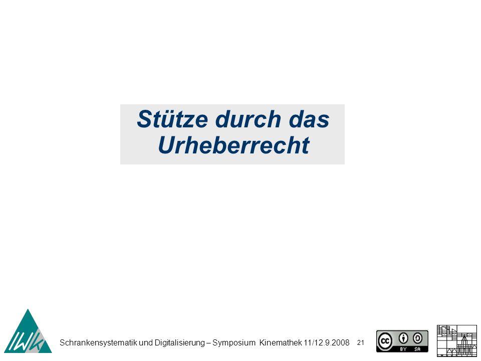 Schrankensystematik und Digitalisierung – Symposium Kinemathek 11/12.9.2008 21 Stütze durch das Urheberrecht