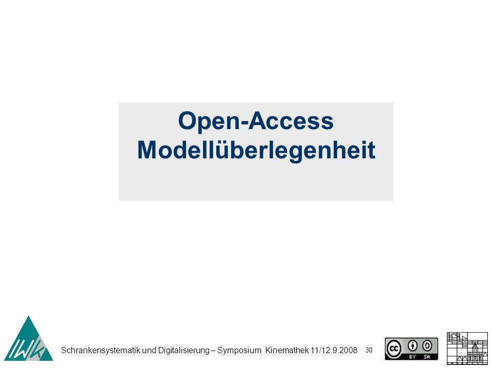 Schrankensystematik und Digitalisierung – Symposium Kinemathek 11/12.9.2008 30 Open-Access Modellüberlegenheit