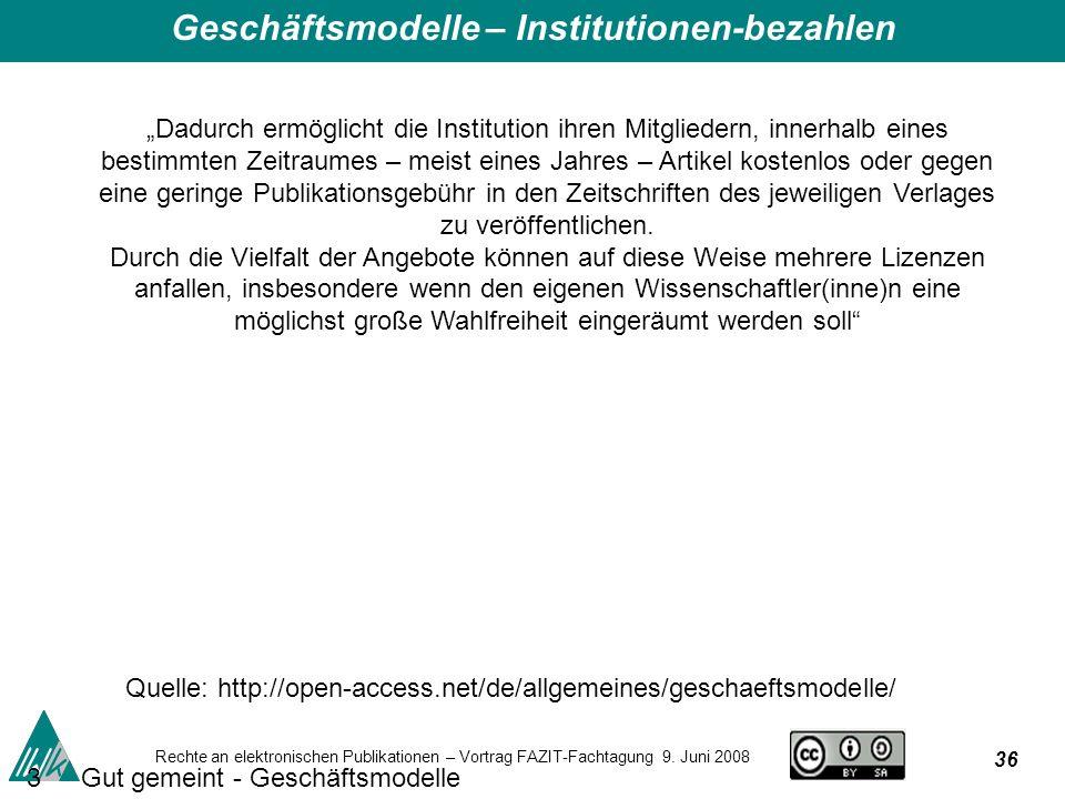 36 Rechte an elektronischen Publikationen – Vortrag FAZIT-Fachtagung 9.