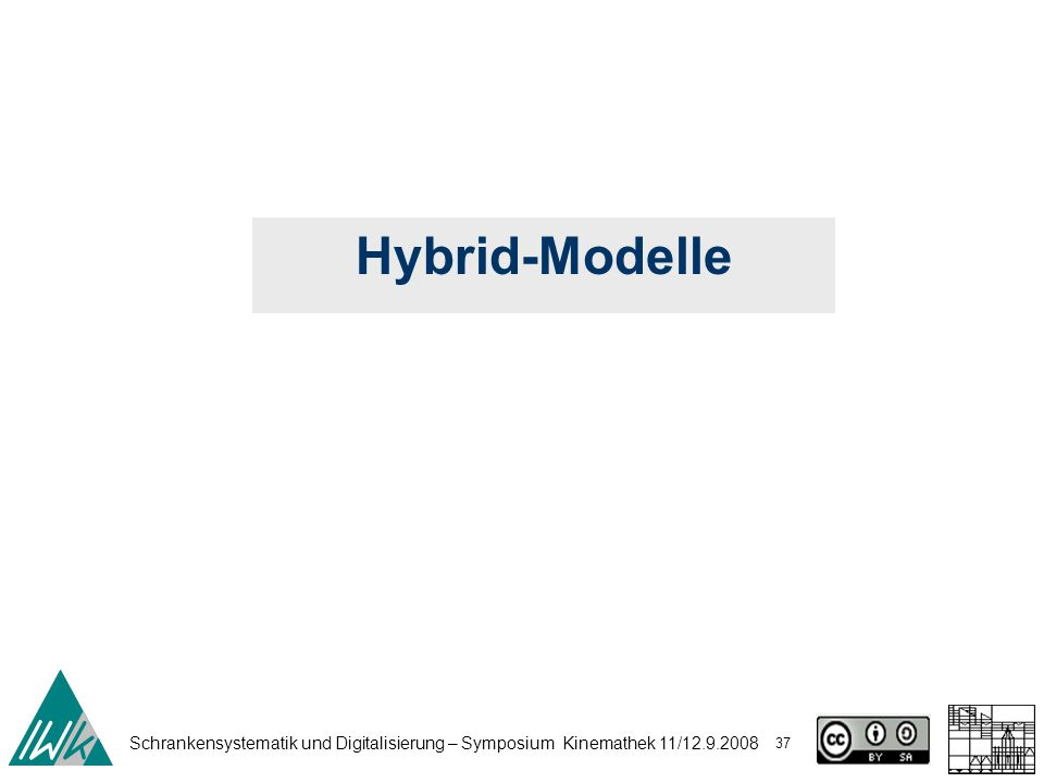 Schrankensystematik und Digitalisierung – Symposium Kinemathek 11/12.9.2008 37 Hybrid-Modelle