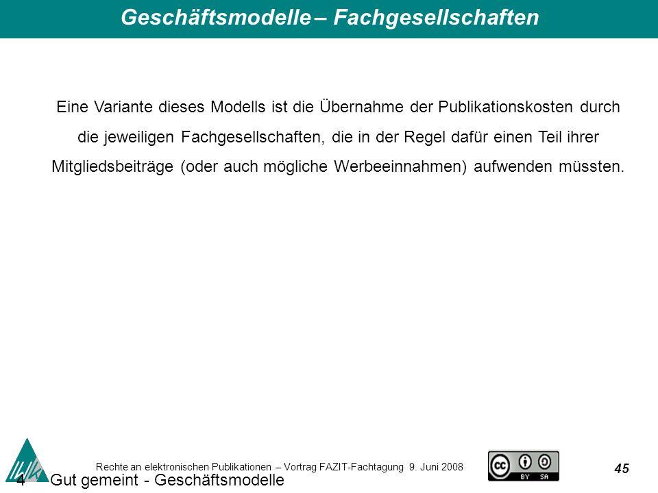 45 Rechte an elektronischen Publikationen – Vortrag FAZIT-Fachtagung 9.