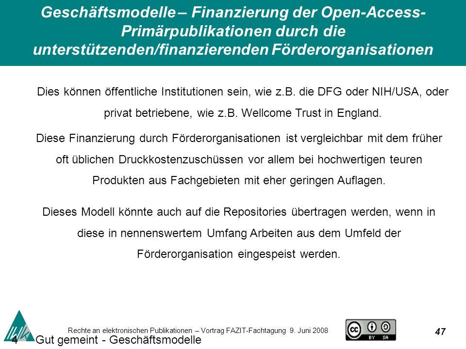 47 Rechte an elektronischen Publikationen – Vortrag FAZIT-Fachtagung 9.