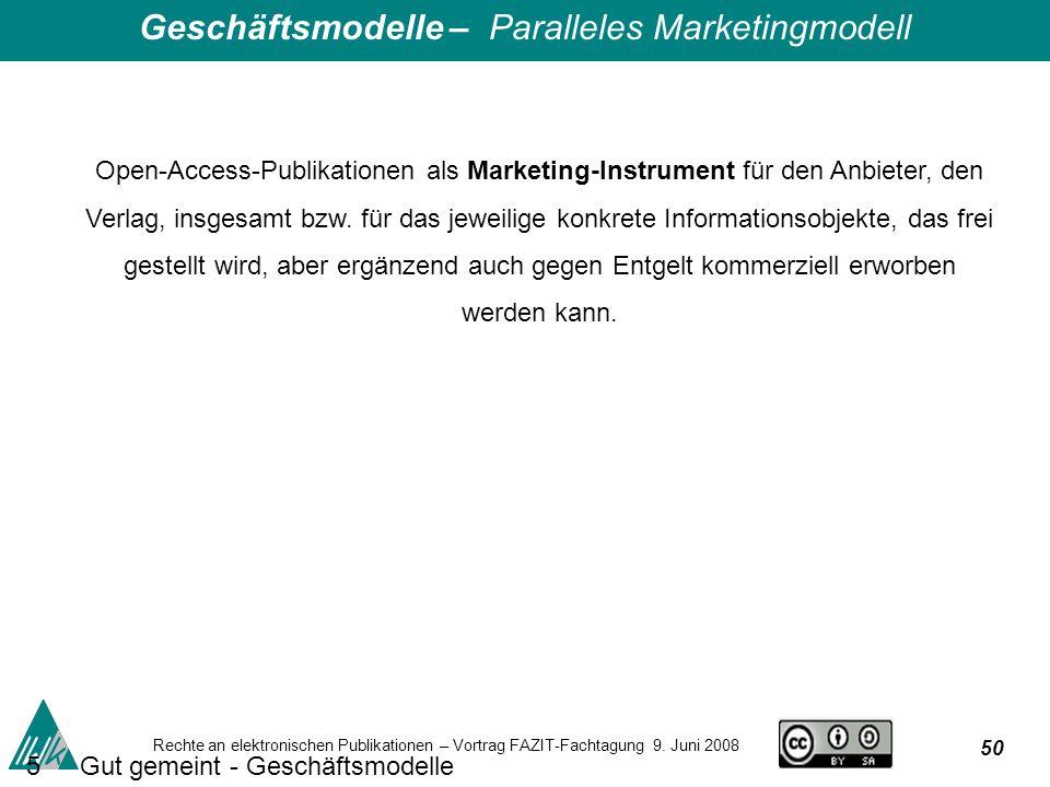 50 Rechte an elektronischen Publikationen – Vortrag FAZIT-Fachtagung 9.