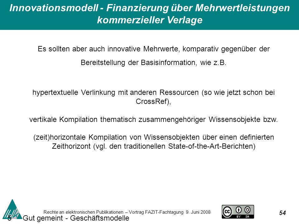 54 Rechte an elektronischen Publikationen – Vortrag FAZIT-Fachtagung 9.