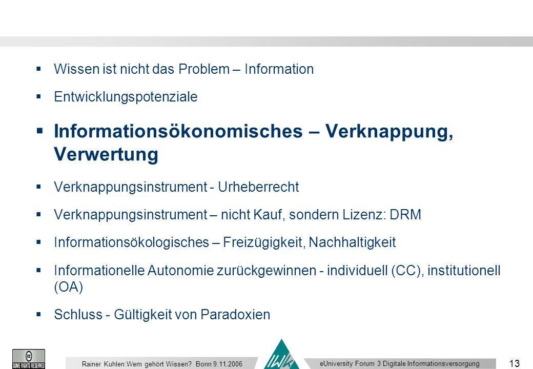 eUniversity Forum 3 Digitale Informationsversorgung 13 Rainer Kuhlen:Wem gehört Wissen.