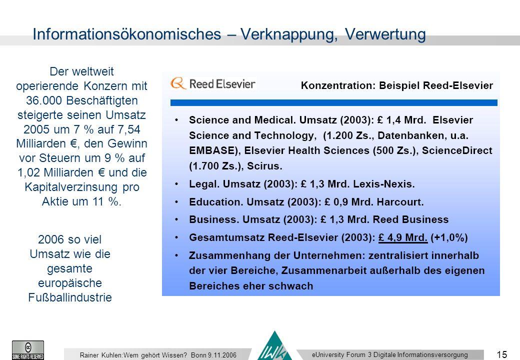 eUniversity Forum 3 Digitale Informationsversorgung 15 Rainer Kuhlen:Wem gehört Wissen.