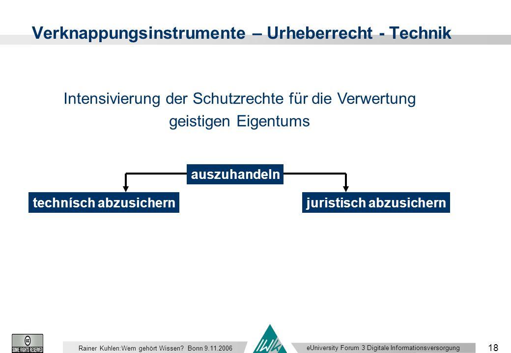 eUniversity Forum 3 Digitale Informationsversorgung 18 Rainer Kuhlen:Wem gehört Wissen.