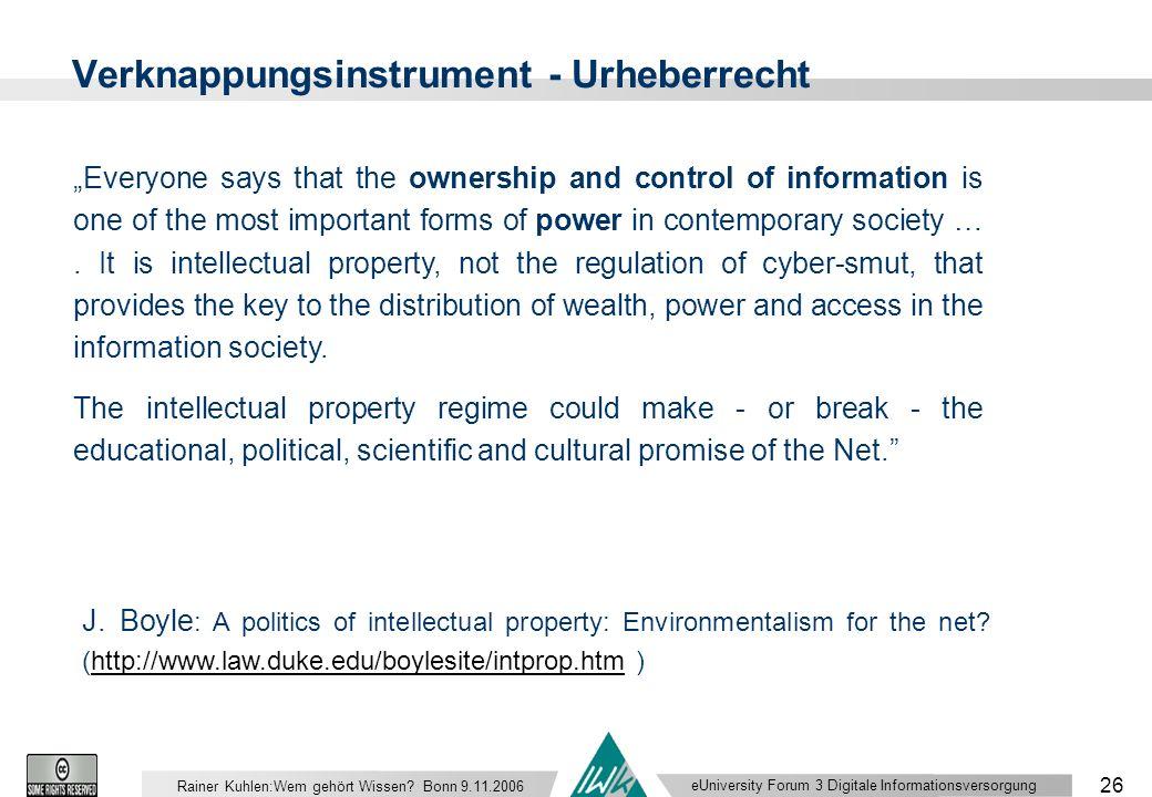 eUniversity Forum 3 Digitale Informationsversorgung 26 Rainer Kuhlen:Wem gehört Wissen.
