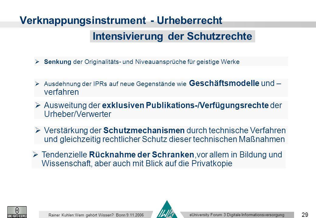 eUniversity Forum 3 Digitale Informationsversorgung 29 Rainer Kuhlen:Wem gehört Wissen.