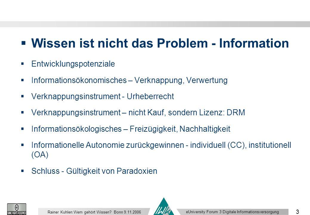 eUniversity Forum 3 Digitale Informationsversorgung 3 Rainer Kuhlen:Wem gehört Wissen.