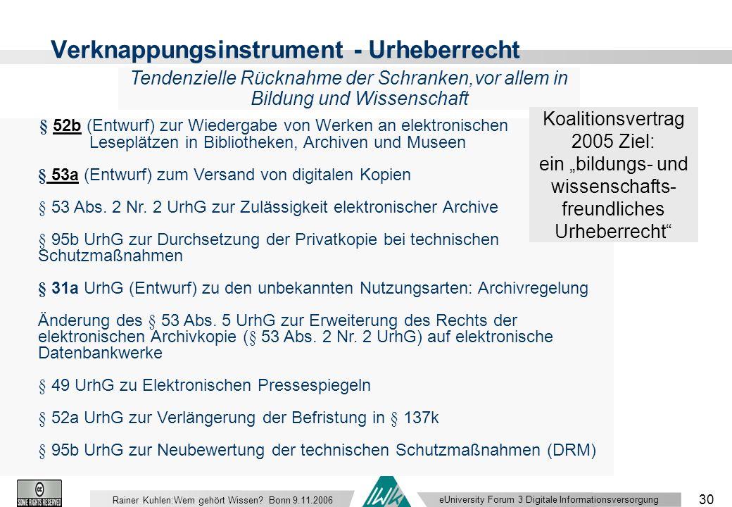 eUniversity Forum 3 Digitale Informationsversorgung 30 Rainer Kuhlen:Wem gehört Wissen.
