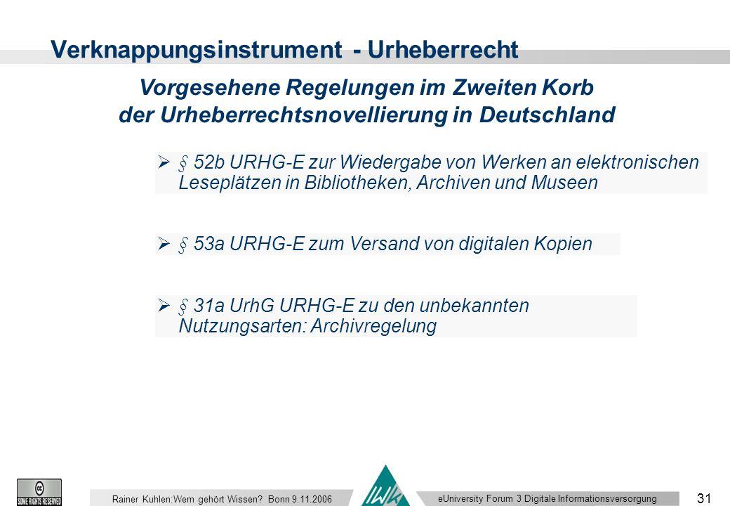eUniversity Forum 3 Digitale Informationsversorgung 31 Rainer Kuhlen:Wem gehört Wissen.