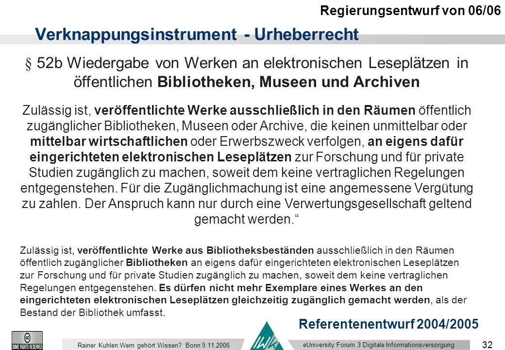 eUniversity Forum 3 Digitale Informationsversorgung 32 Rainer Kuhlen:Wem gehört Wissen.