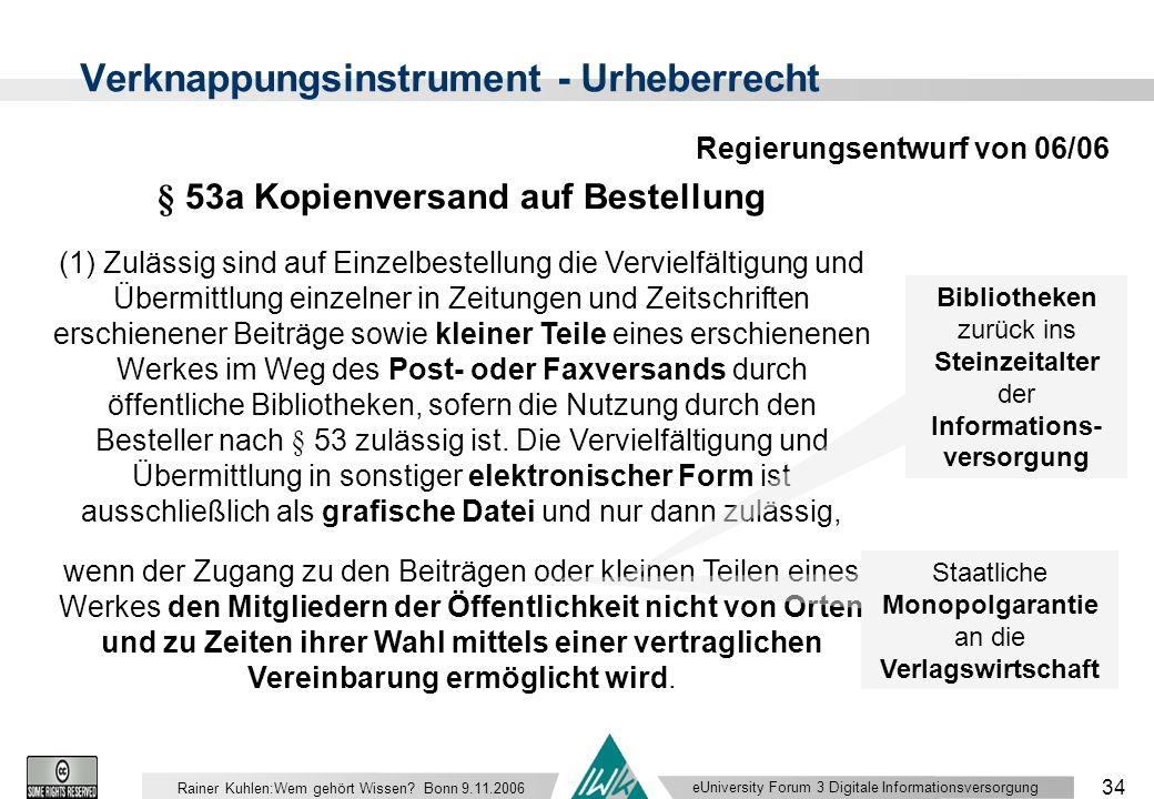 eUniversity Forum 3 Digitale Informationsversorgung 34 Rainer Kuhlen:Wem gehört Wissen.