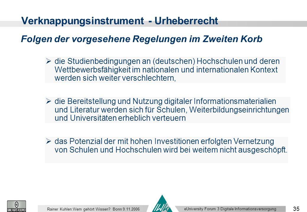 eUniversity Forum 3 Digitale Informationsversorgung 35 Rainer Kuhlen:Wem gehört Wissen.