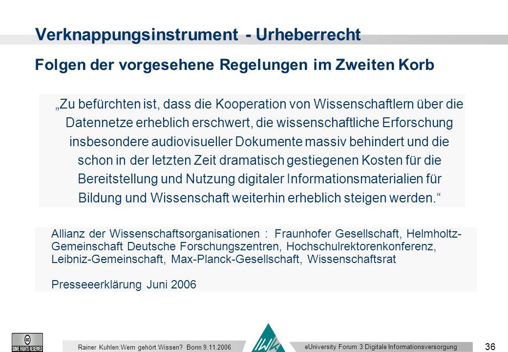 eUniversity Forum 3 Digitale Informationsversorgung 36 Rainer Kuhlen:Wem gehört Wissen.