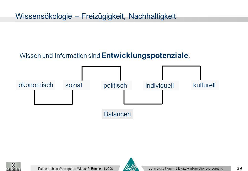 eUniversity Forum 3 Digitale Informationsversorgung 39 Rainer Kuhlen:Wem gehört Wissen.