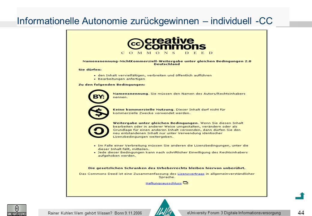 eUniversity Forum 3 Digitale Informationsversorgung 44 Rainer Kuhlen:Wem gehört Wissen.