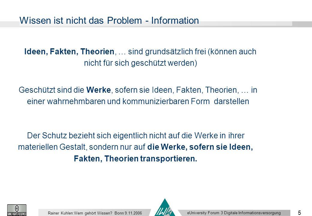 eUniversity Forum 3 Digitale Informationsversorgung 5 Rainer Kuhlen:Wem gehört Wissen.