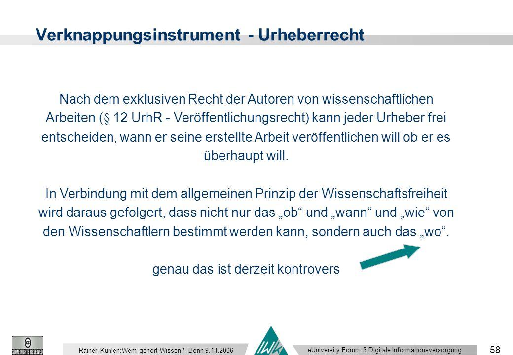 eUniversity Forum 3 Digitale Informationsversorgung 58 Rainer Kuhlen:Wem gehört Wissen.