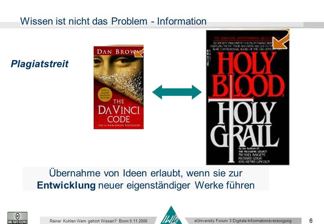 eUniversity Forum 3 Digitale Informationsversorgung 6 Rainer Kuhlen:Wem gehört Wissen.