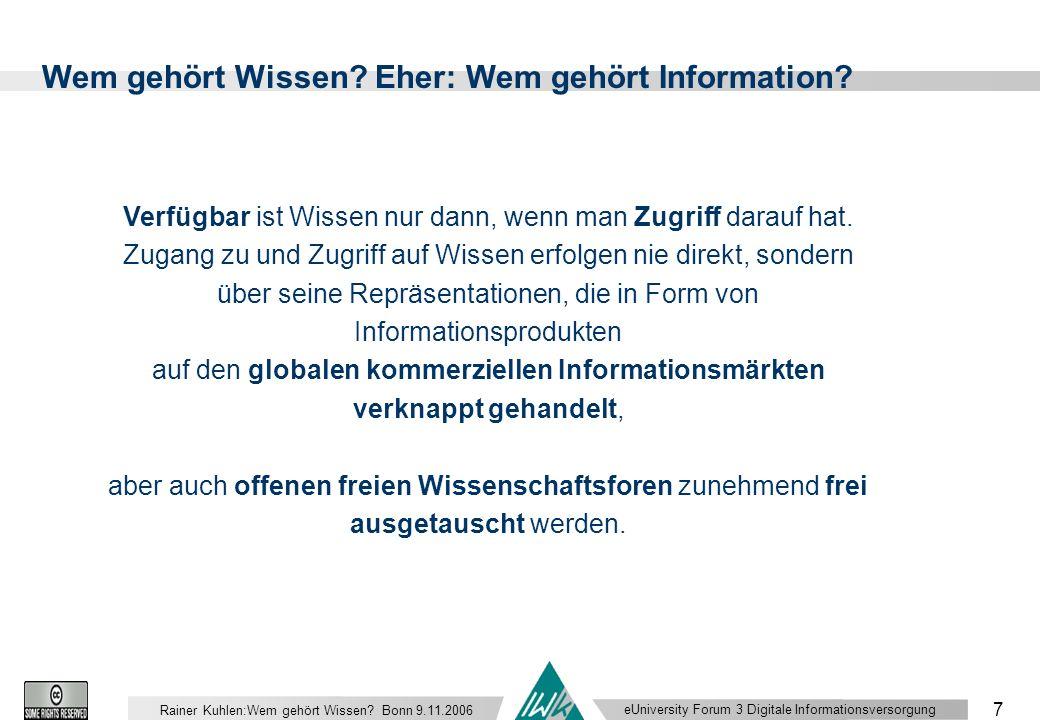 eUniversity Forum 3 Digitale Informationsversorgung 7 Rainer Kuhlen:Wem gehört Wissen.