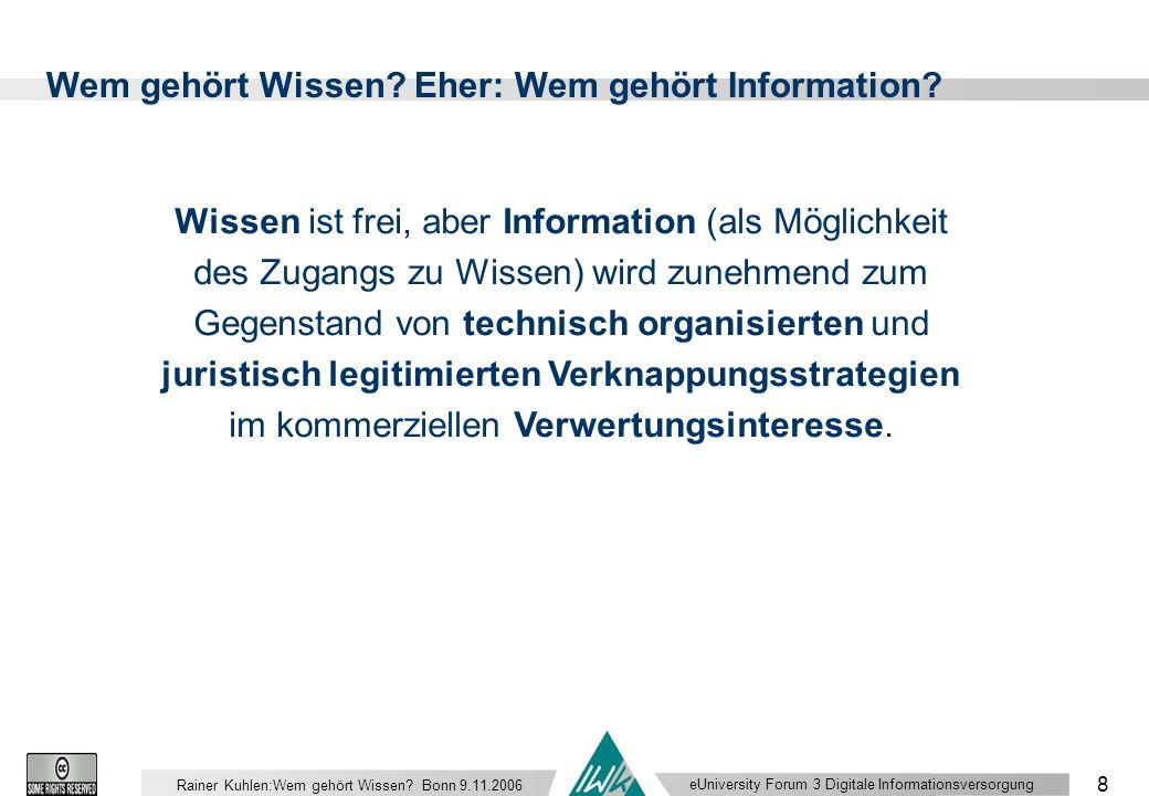 eUniversity Forum 3 Digitale Informationsversorgung 8 Rainer Kuhlen:Wem gehört Wissen.