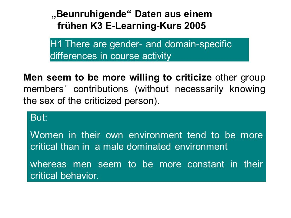 Beunruhigende Daten aus einem frühen K3 E-Learning-Kurs 2005 Women in general are more willing to take on role responsibility and feel thus more responsible for the success of collaborative work.