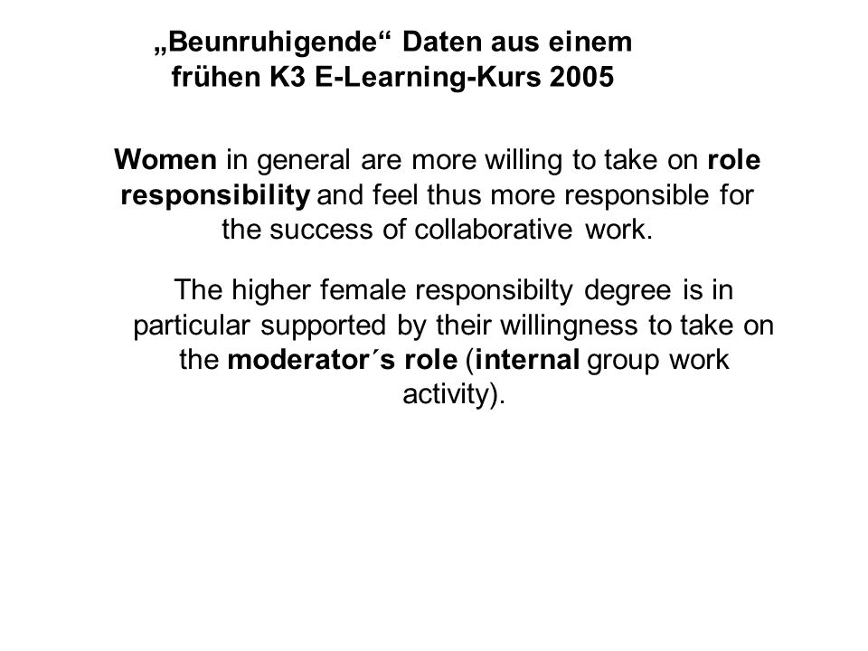 Beunruhigende Daten aus einem frühen K3 E-Learning-Kurs 2005 Men tend to take on the more prestigious or more visible presenter role (external work), whereas women are willing to take over the remaining, more service-oriented internal roles.