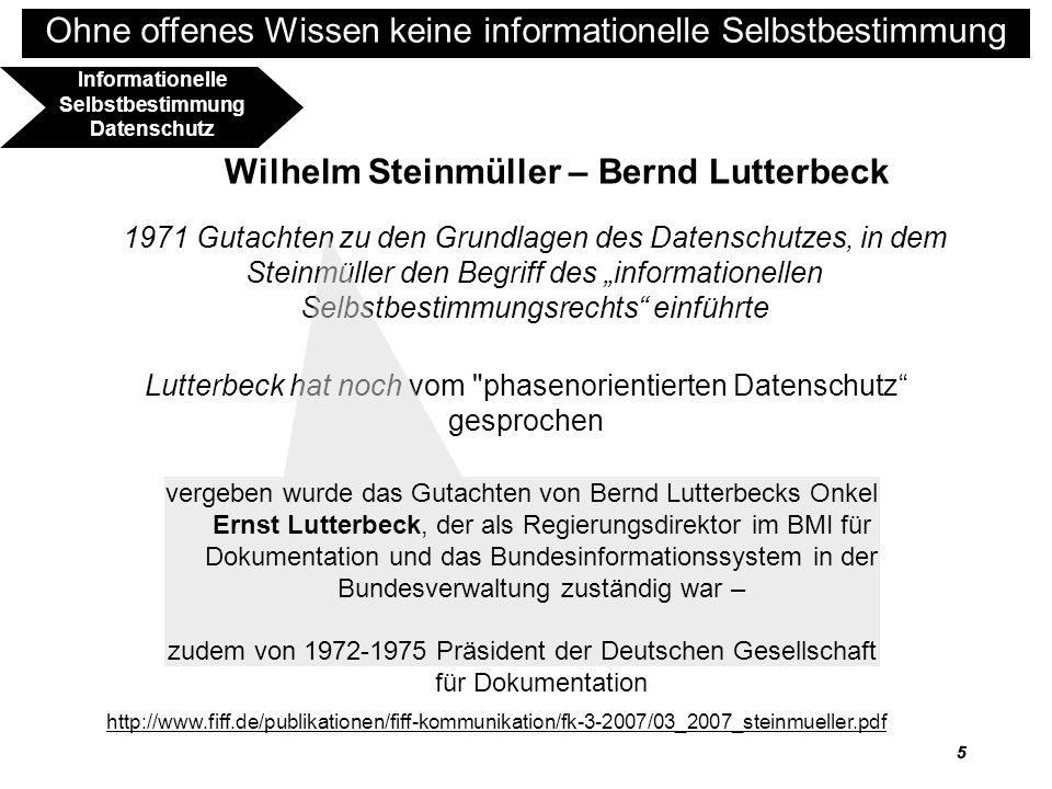 6 Ohne offenes Wissen keine informationelle Selbstbestimmung BVerfGE 65,1 – Volkszählung 1.