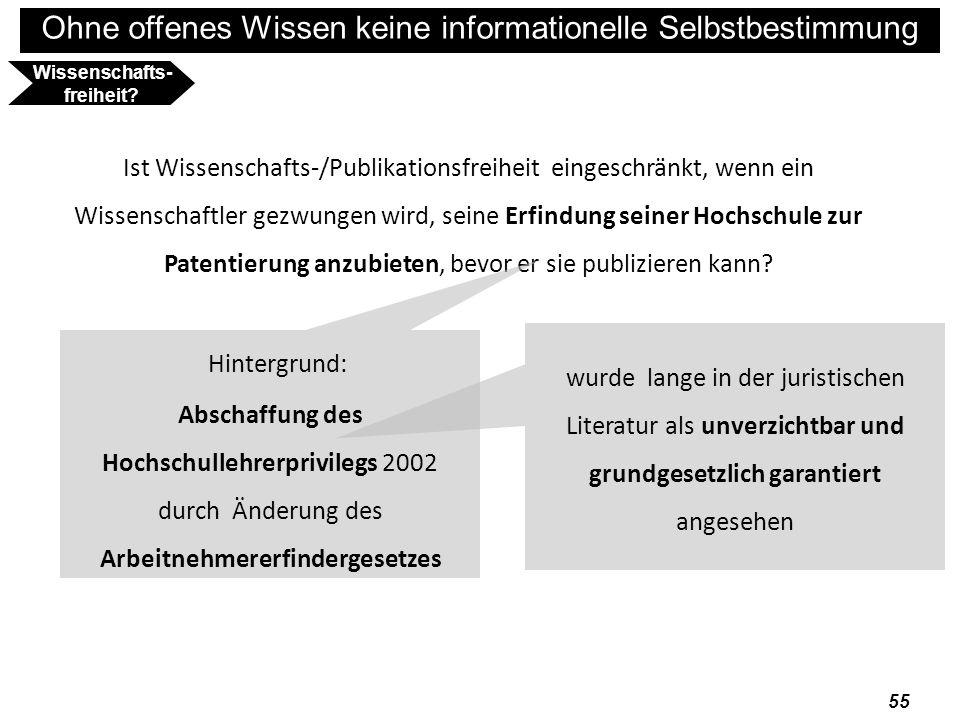 Ohne offenes Wissen keine informationelle Selbstbestimmung 56 Wissenschafts- freiheit.