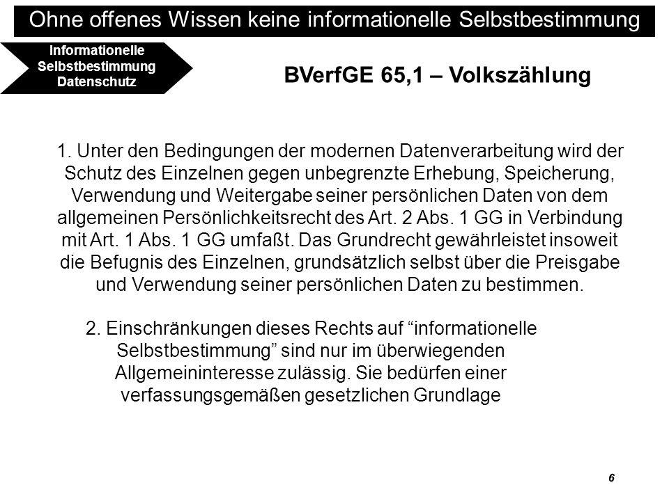 7 Ohne offenes Wissen keine informationelle Selbstbestimmung BVerfGE 65,1 – Volkszählung 4.