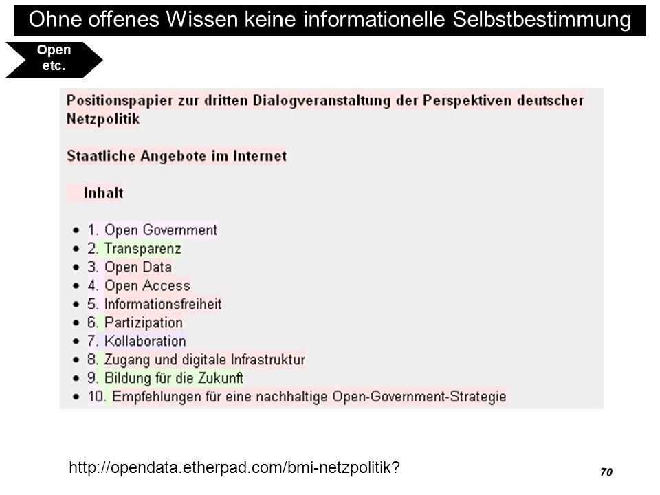 71 Ohne offenes Wissen keine informationelle Selbstbestimmung http://www.opendefinition.org/ Open etc.