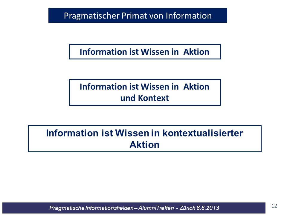 Pragmatische Informationshelden – AlumniTreffen - Zürich 8.6.2013 Information ist Wissen in Aktion Pragmatischer Primat von Information Information is