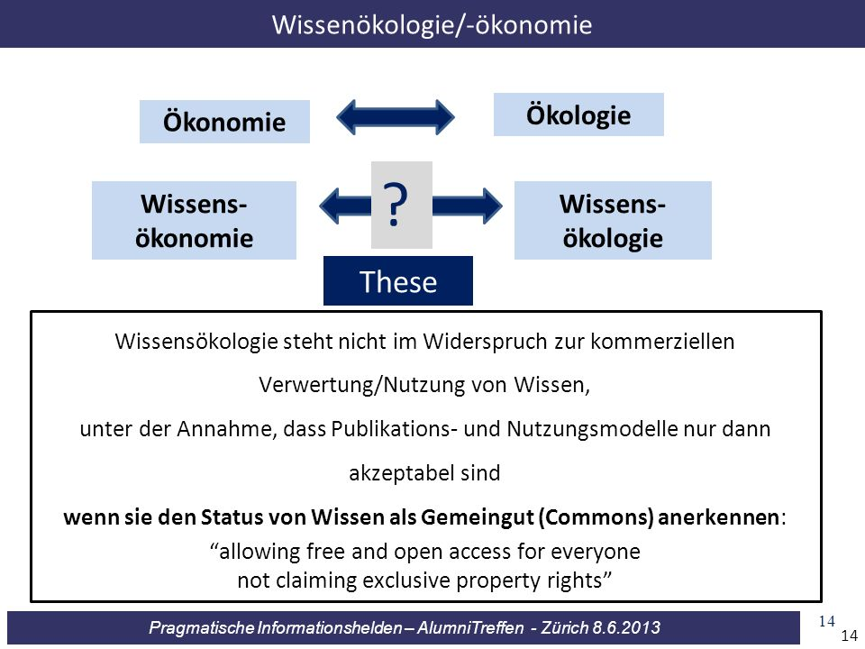 Pragmatische Informationshelden – AlumniTreffen - Zürich 8.6.2013 14 Wissensökologie steht nicht im Widerspruch zur kommerziellen Verwertung/Nutzung v
