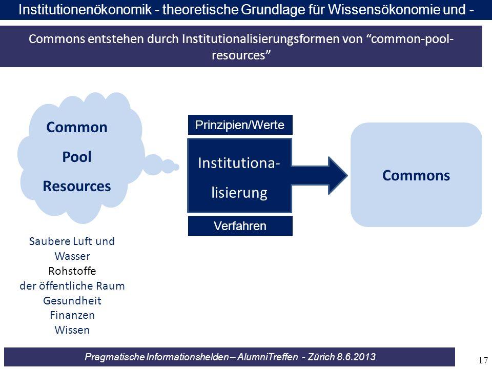 Pragmatische Informationshelden – AlumniTreffen - Zürich 8.6.2013 Institutionenökonomik - theoretische Grundlage für Wissensökonomie und - ökologie Co