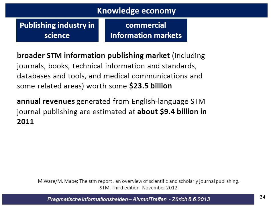 Pragmatische Informationshelden – AlumniTreffen - Zürich 8.6.2013 Knowledge economy broader STM information publishing market (including journals, boo