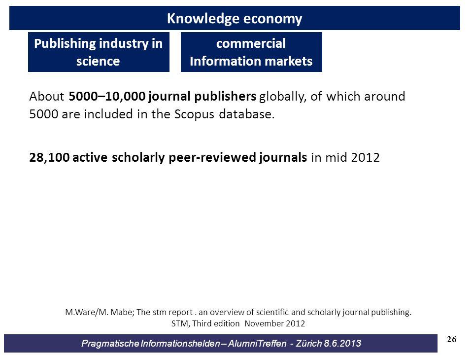 Pragmatische Informationshelden – AlumniTreffen - Zürich 8.6.2013 Knowledge economy 28,100 active scholarly peer-reviewed journals in mid 2012 About 5