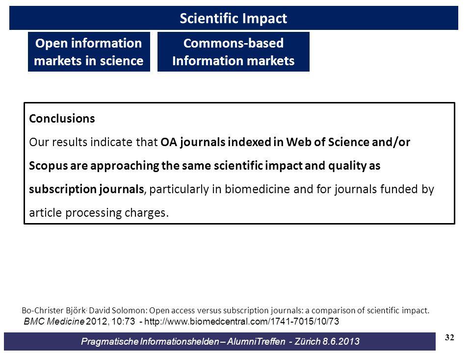 Pragmatische Informationshelden – AlumniTreffen - Zürich 8.6.2013 Scientific Impact Bo-Christer Björk ; David Solomon: Open access versus subscription