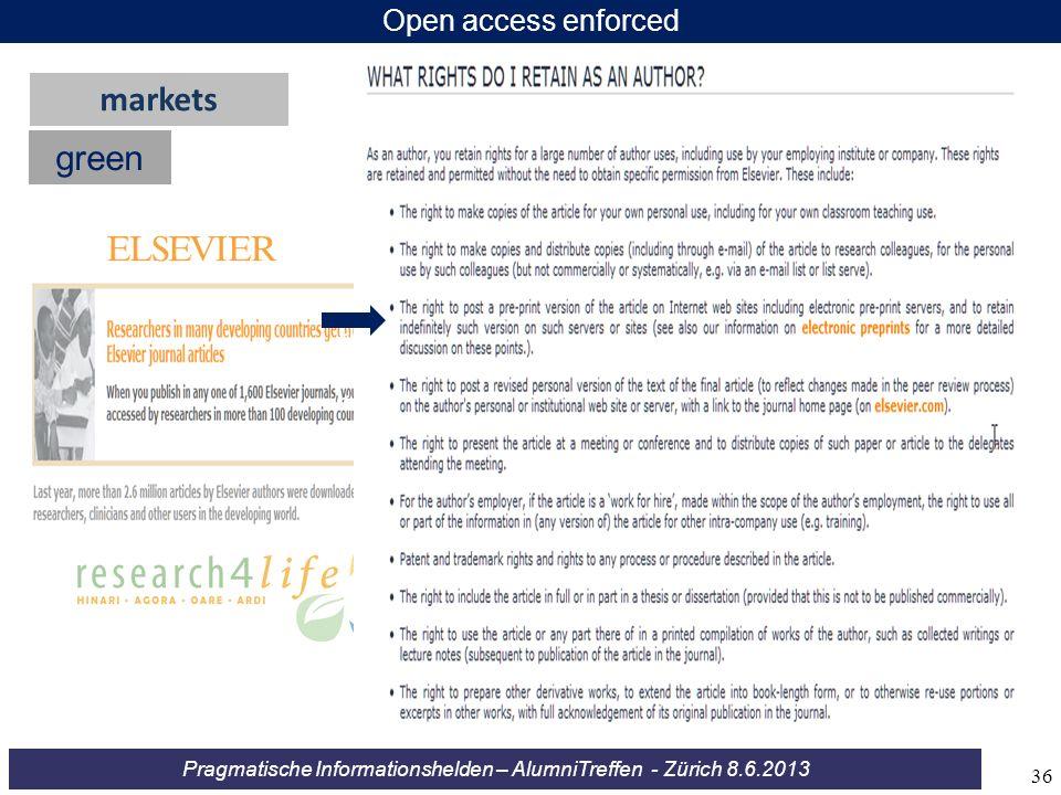 Pragmatische Informationshelden – AlumniTreffen - Zürich 8.6.2013 Open access enforced green markets << << << 36